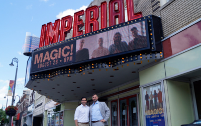 London MP Peter Fragiskatos and Brian Austin at Sarnia's Imperial Theatre. August 28, 2019. BlackburnNews photo by Colin Gowdy)