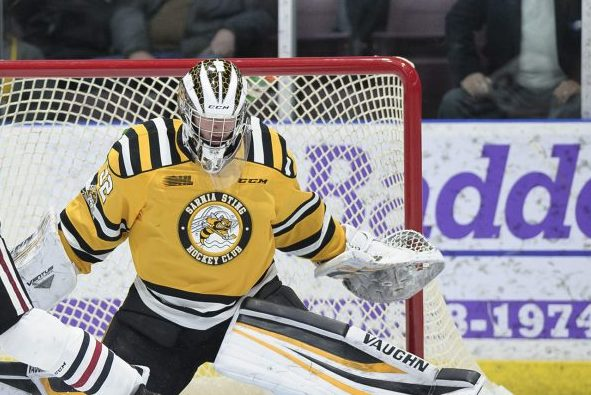 Cameron Lamour in action against the Guelph Storm Feb. 2019 (Photo courtesy of Metcalfe Photography)