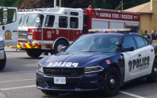 Sarnia Police Service and Sarnia Fire & Rescue at the scene of a crash. August 16, 2019. (BlackburnNews photo by Colin Gowdy)