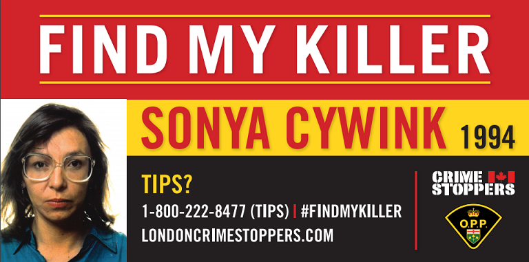Billboards appealing for information about the murder of Sonya Cywink are going up at two London intersections. Image courtesy of Elgin OPP.