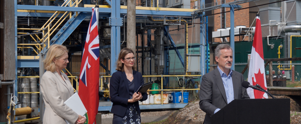 (From left to right) MP Kate Young, Research Park Ex. Director Katherine Albion, Woodland CEO Greg Nuttall in Sarnia. August 27, 2019. (BlackburnNews photo by Colin Gowdy)