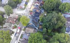 Aerial photo of the damage caused by an explosion in Old East London. Photo provided by London police.