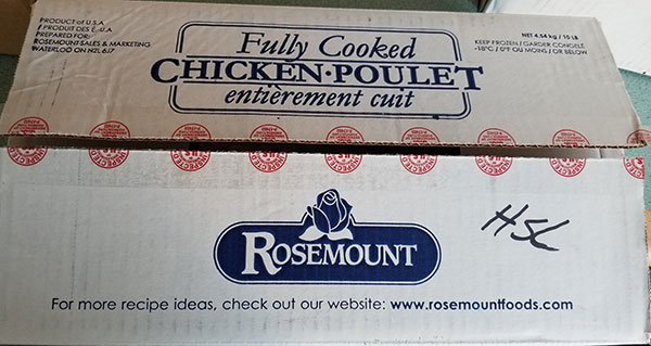 This variety of Rosemount fully-cooked diced chicken meat is under recall due to the possibility of listeria, August 19, 2019. Photo provided by Canadian Food Inspection Agency.