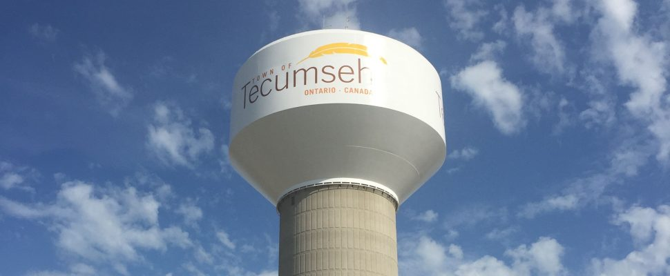 Tecumseh water tower. Aug 8, 2019. (Photo courtesy of Town of Tecumseh)