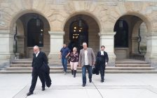 Craig Short leaves Elgin County Courthouse with legal counsel and family after being acquitted in third trial - Sept. 9/19 (Blackburnnews.com photo by Colin Cowdy)