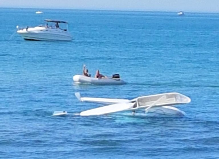 A small ultralight aircraft crash landed on Lake Huron near Port Franks Sept. 21, 2019 (OPP submitted photo)