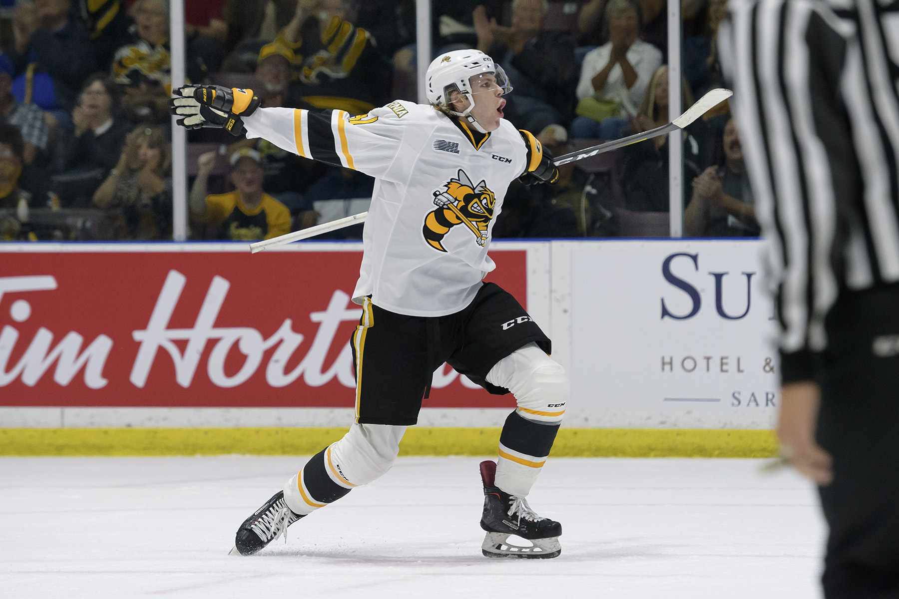 Sam Bitten, acquired before the season from Ottawa, scores the Sting's first goal of the 2019-20 campaign Sept. 20, 2019 (Photo courtesy of Metcalfe Photography)