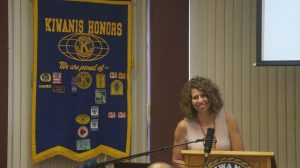 Susanne McLean from St. Clair Child & Youth Services speaking at a Sarnia-Lambton Kiwanis Club meeting. September 10, 2019. (BlackburnNews photo by Colin Gowdy)