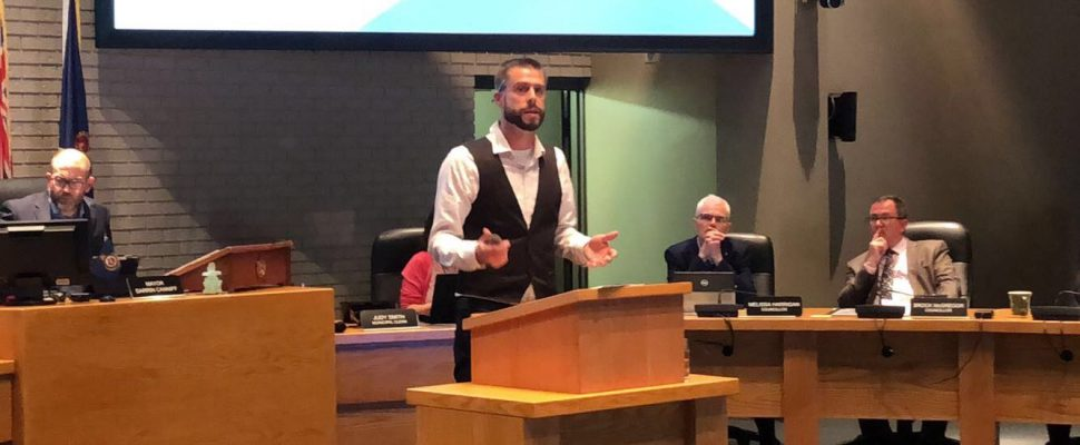 Environmental Planner Gabriel Clarke speaks at the Civic Centre in Chatham on September 10, 2019. (Photo by Allanah Wills)