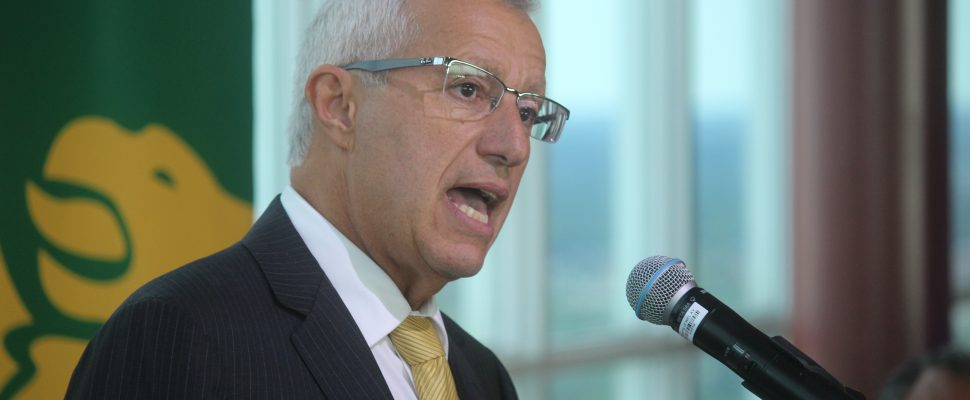 Vic Fedeli, Ontario Minister of Economic Development, Job Creation and Trade, speaks at the CAMM Conference at Caesars Windsor, September 9, 2019. Photo by Mark Brown, Blackburn News.