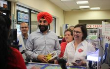 Liberal candidate for Essex Audrey Festeryga campaigns with Minister Navdeep Bains in LaSalle on day two of the federal election campaign, September 12, 2019. (Photo by Maureen Revait)