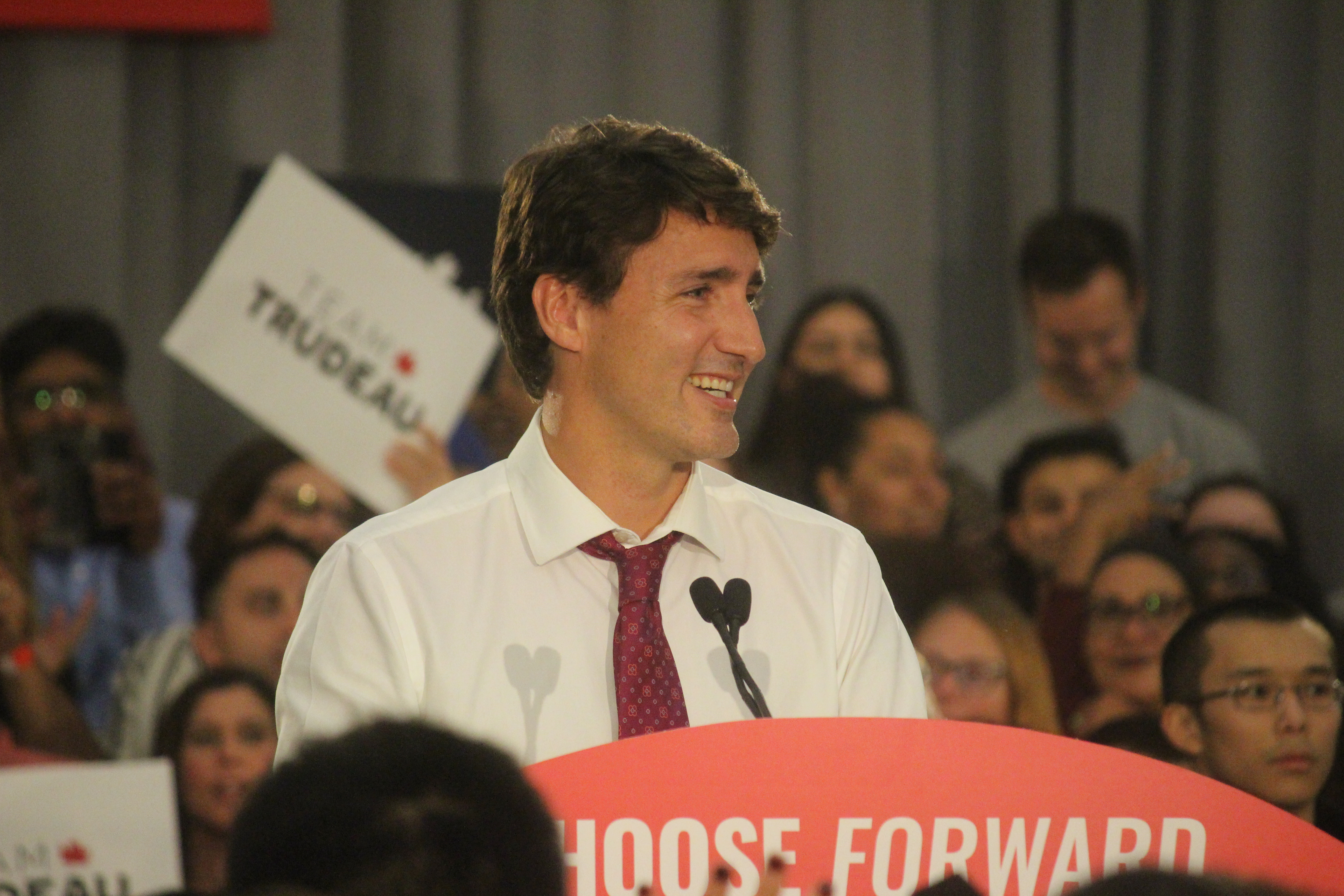 Prime Minister Justin Trudeau smiles as he addresses a Liberal rally at the St. Clair Centre for the Arts, Windsor, September 16, 2019. Photo by Mark Brown/Blackburn News.