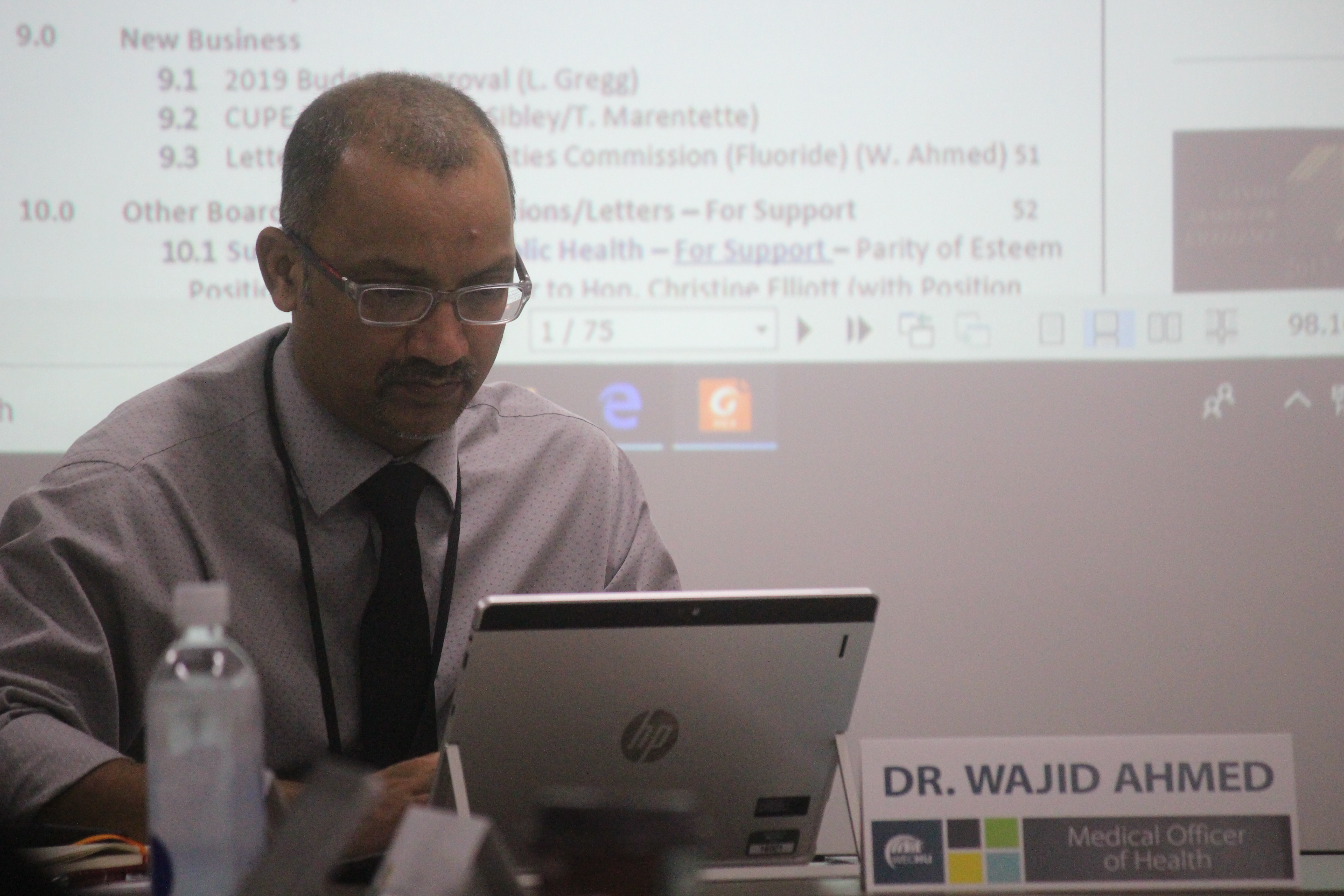 Dr Wajid Ahmed, medical officer of health for the Windsor-Essex County Health Unit, at their board meeting on September 19, 2019. Photo by Mark Brown/Blackburn News.