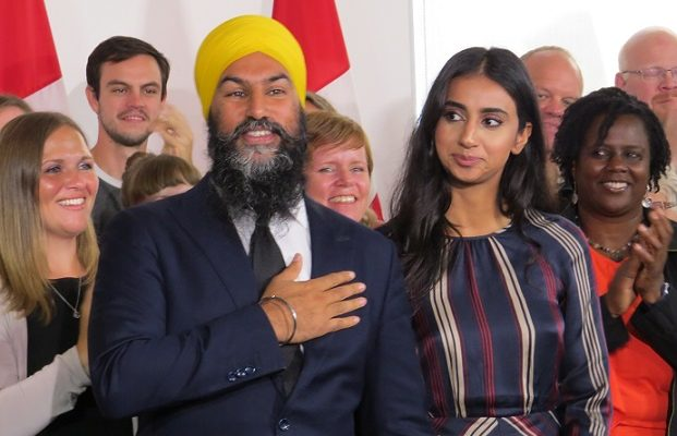 Federal NDP Leader Jagmeet Singh and his wife Gurkiran Kaur Sidhu at his campaign launch in London, September 11, 2018. (Photo by Miranda Chant, Blackburn News.)