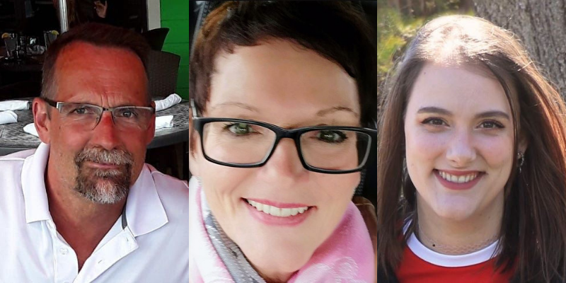 Photos of Walter Yetman, Donna Yetman, and Stephanie Roloson from T.A. Brown Funeral Home.