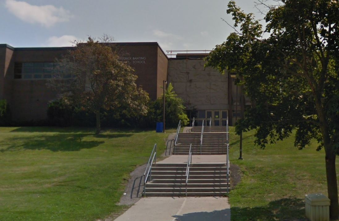 Photo of Sir Frederick Banting Secondary School courtesy of Google Street View.