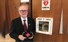Sarnia city councillor Terry Burrell holds a Naloxone kit, he would like to see placed with defibrillators across the city. Sept 9, 2019 Photo by Melanie Irwin