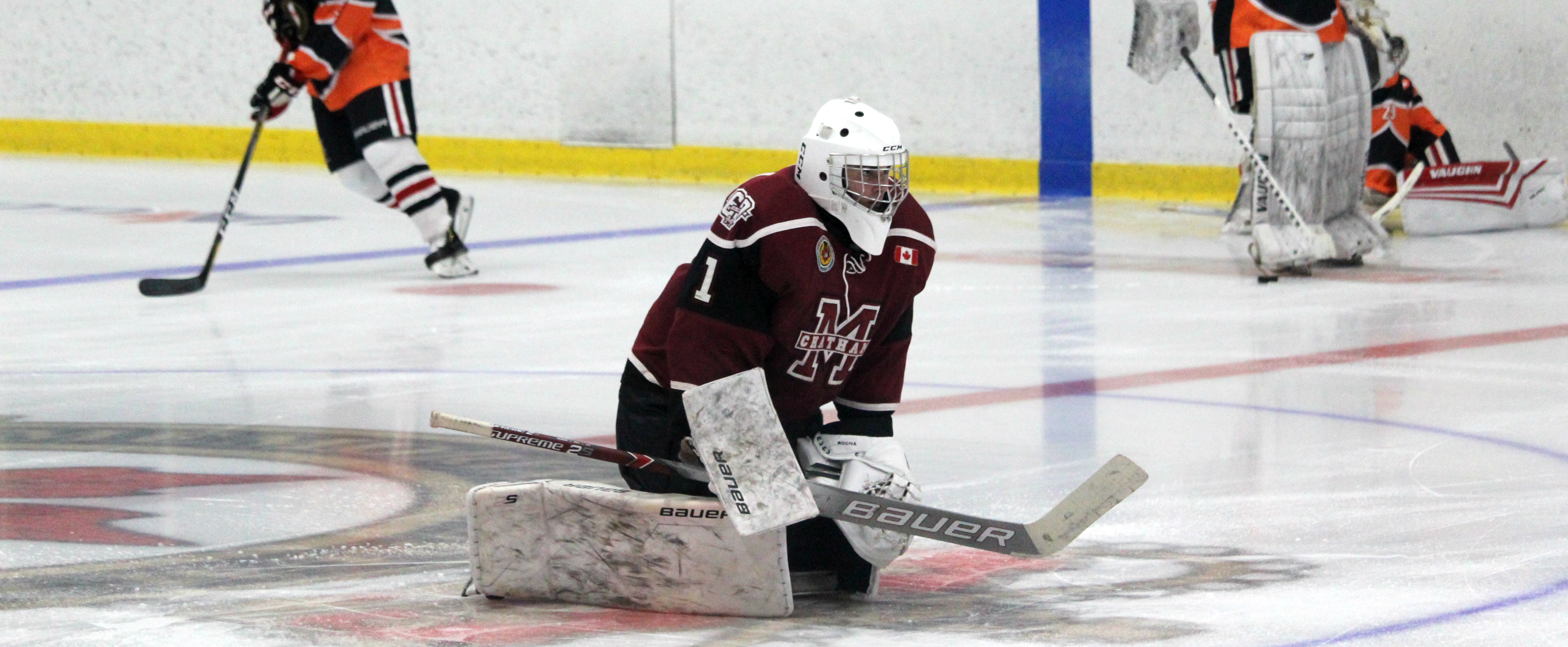 Chatham Maroons goalie Tiago Rocha warms up ahead of a game against the Sarnia Legionnaires. September 2019. (Photo by Matt Weverink)