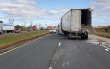 Photo of a crash site on the eastbound 401 near Iona Road. Photo supplied by OPP.
