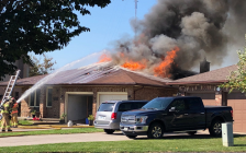 Firefighters battle a blaze at 30 Parkside Cres., September 30, 2019. Photo courtesy of the London Fire Department.