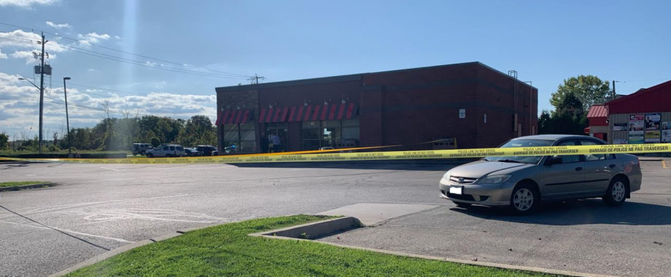 Sarnia police cordoning off the Tim Hortons in Bright's Grove. October 8, 2019. (Photo provided by Stella Lindau)