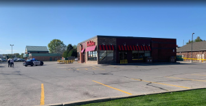 Sarnia police cornering off the Tim Hortons in Bright's Grove. October 8, 2019. (Photo provided by Stella Lindau)