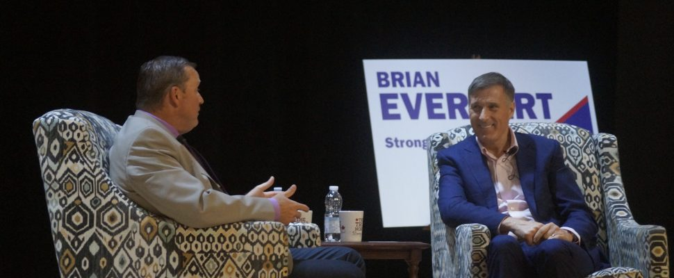 Maxime Bernier (right) and Brian Everaert (left) at Sarnia Library Theatre. October 1, 2019. (BlackburnNews.com photo by Colin Gowdy)
