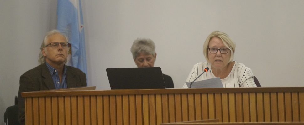 Navigating Senior Care Lambton members Andrew Bolter, Margaret Bell and Arlene Patterson propose the creation of an elders council at Lambton County Council. October 2, 2019 Photo by Melanie Irwin