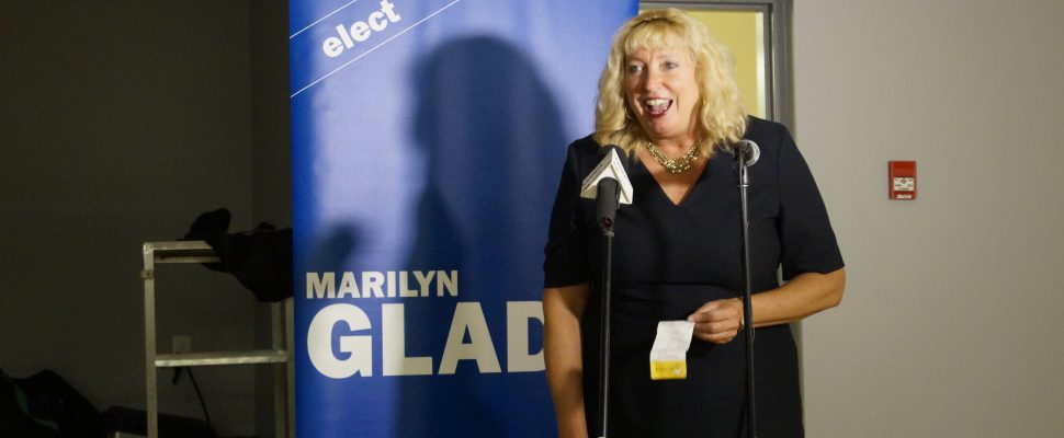 Marilyn Gladu reacts after being elected to a second term as Sarnia-Lambton MP Oct. 21, 2019 (BlackburnNews.com photo by Rae-Lynn Burgess)