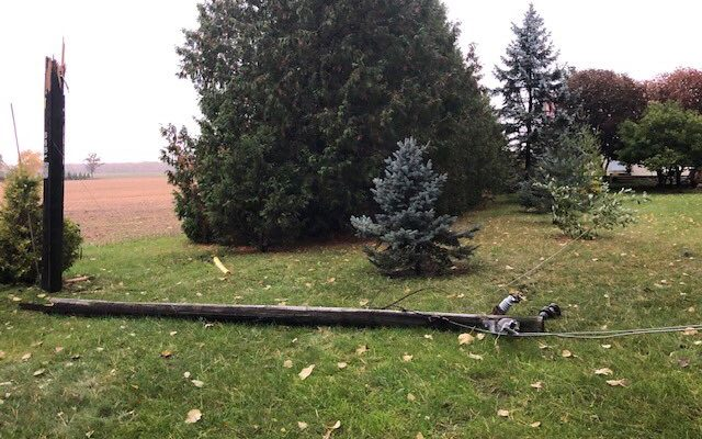 A downed tree snapped a hydro pole at 2984 Churchill Line (Photo from Bluewater Power via Twitter)