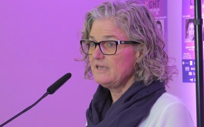 London Abused Women's Centre Executive Director Megan Walker speaks at the launch of the 2019 Shine the Light Campaign, October 25, 2019. (Photo by Miranda Chant, Blackburn News)