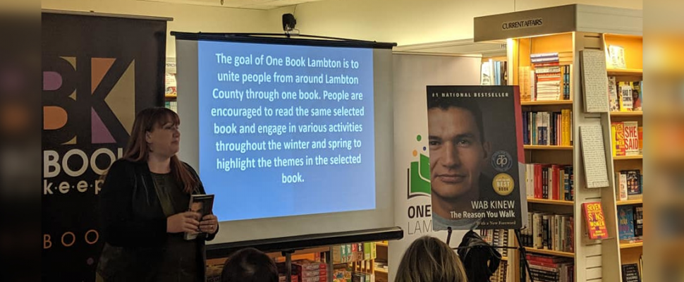 County Library Supervisor Greer Macdonell speaks during the One Book Lambton inaugural unveiling ceremony. Oct 25, 2019. (Photo by Sarah Woodley)