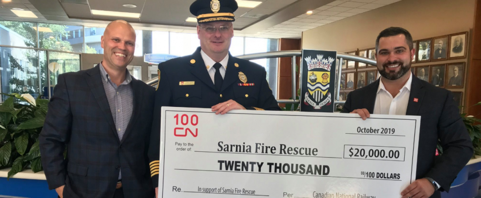 (From left to right) Sarnia CAO Chris Carter, Sarnia Fire Chief Brian Arnold, and CN Manager Public Affairs Daniel Salvatore. October 8, 2019. (Photo by City of Sarnia)