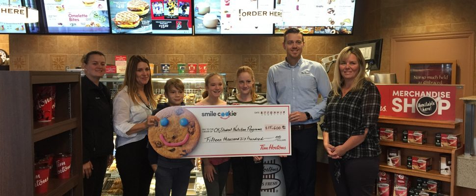 Tim Hortons raised $15,600 from this year's Smile Cookie campaign held at the Tilbury, Ridgetown, Thamesville and Bothwell stores. Oct 29, 2019. (Photo courtesy of CK Public Health Unit)