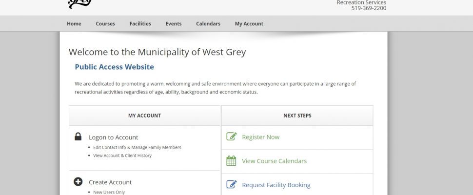 Screen grab of the West Grey Book King home page.