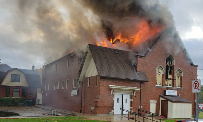 Church fire on Windermere Road in Windsor on October 27, 2019 (Photo via Windsor Fire Twitter)