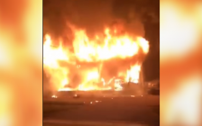 Jefferson Boulevard fire on October 19, 2019. (Screen grab from video courtesy of Jayson Brierley/ Facebook)