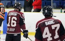 Chatham Maroons warm up ahead of a game against the Sarnia Legionnaires. September 2019. (Photo by Matt Weverink)