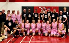 The Sarnia police CID team beat the Northern girls basketball squad with a buzzer beater basket in a charity game Oct. 8, 2019 Photo courtesy of Sarnia police via Facebook