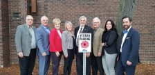 Lakeshore Mayor Tom Bain and members of town council show off their new veterans' parking spaces, November 19, 2019. Photo courtesy Town of Lakeshore.