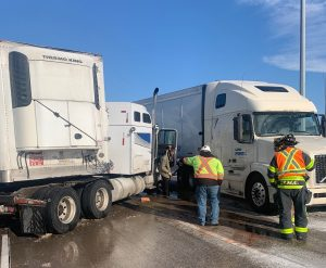 A jackknifed tractor-trailer is seen in the area of Highway 401 and Highway 3 on November 12, 2019. Photo courtesy of Ontario Provincial Police.