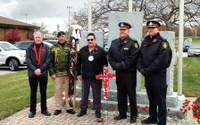 (L to R) Sarnia Mayor Mike Bradley, Sarnia Police Cst. Shawn Osborne, Aamjiwnaang Chief Chris Plain, Sarnia Police Chief Norm Hansen and Deputy Chief Lockhart. November 8, 2019 Photo courtesy of Mike Bradley.