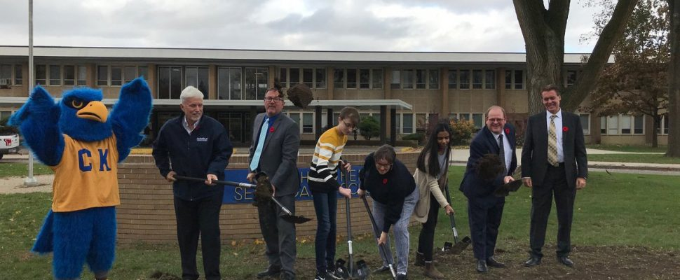 Ground has broken for the expansion and renovations at Chatham-Kent Secondary School. Nov 1, 2019. (Photo by Paul Pedro)