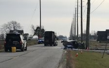 The OPP investigate a collision on Rochester Townline in Lakeshore, November 25, 2019. Photo by Paul Pedro/Blackburn News.