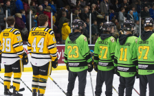 Lambton Sting AAA Hockey Club players in their green Face-Off jerseys next to the Sarnia Sting. (Photo from the hockey club's facebook page)