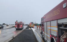 The London Fire Department works to clean up a diesel fuel spill after a crash on Highbury Ave. at Highway 401, November 18, 2019. Photo courtesy of the London Fire Department.