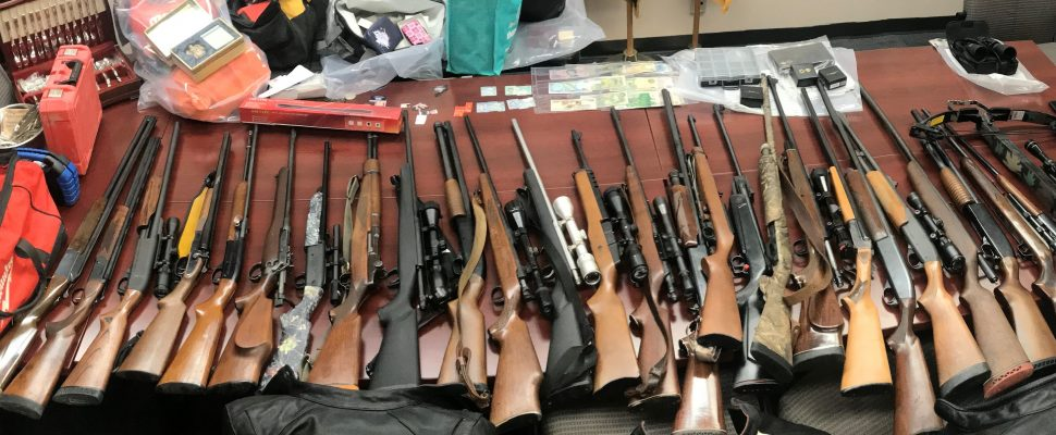 Several guns were recovered by police after they were stolen during a rash of break-ins in Middlesex and Elgin counties. (Photo courtesy of the OPP)