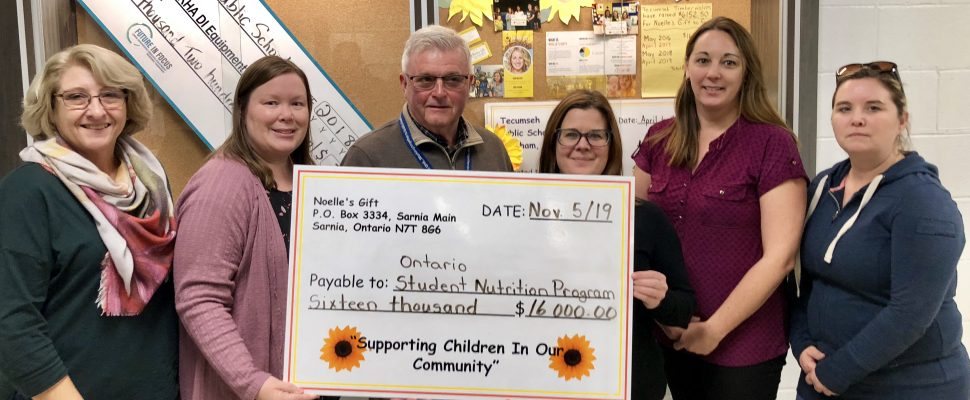 Noelle's Gift cheque presentation at Tecumseh Public School in Chatham on November 5, 2019 (Photo by Allanah Wills)