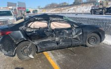 A damaged vehicle is seen in the area of Highway 401 and Highway 3 on November 12, 2019. Photo courtesy Ontario Provincial Police.
