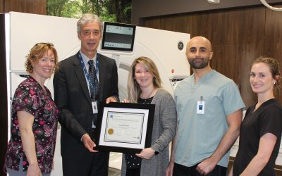 From left to right. Alexandra Smith, Medical Radiation Technologist (MRT); Mike Lapaine, President & CEO; Deirdre Shipley, Director, Diagnostic Imaging; Dr. Vajid Khan, Radiologist and Rachel Cornell, MRT. Handout.